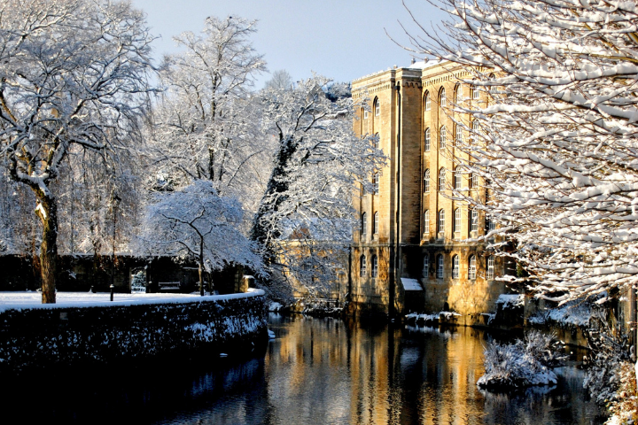 Old mills in a snowy Bradford-on-Avon