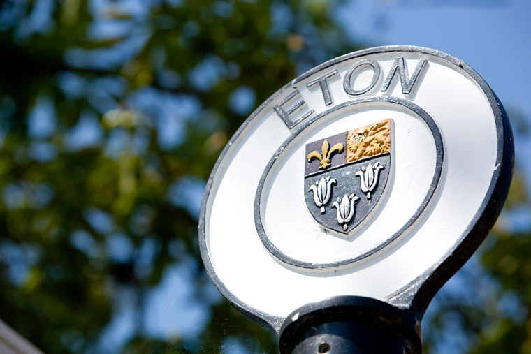 A small circular sign. On the outer circle is written 'ETON', in the centre is the town crest. Image courtesy windsor.gov.uk.