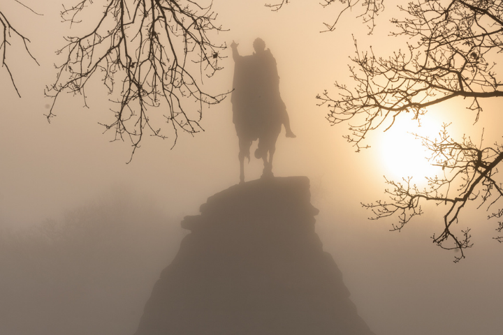 The Copper Horse in the mist