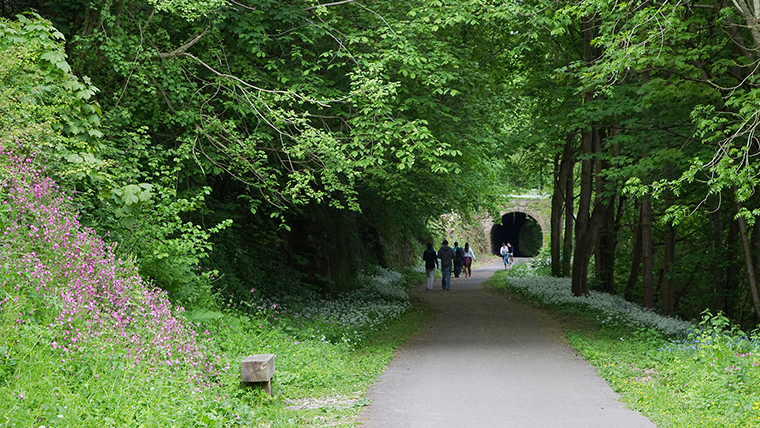 A cycle lane on the Two Tunnels route, looking down one of the tunnels. Image credit David Kennedy