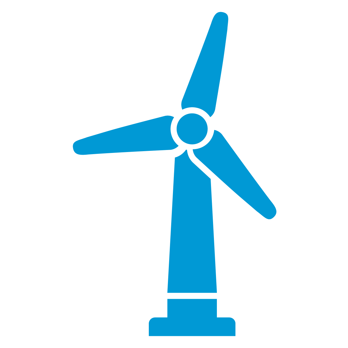 Energy and Resources Icon - a styled, blue, 3-bladed power-generating windmill