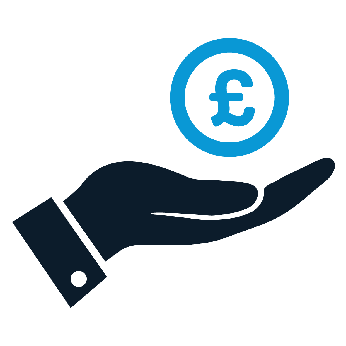 Sustainable Economy Icon. A stylised blue hand holding a coin marked with '£'