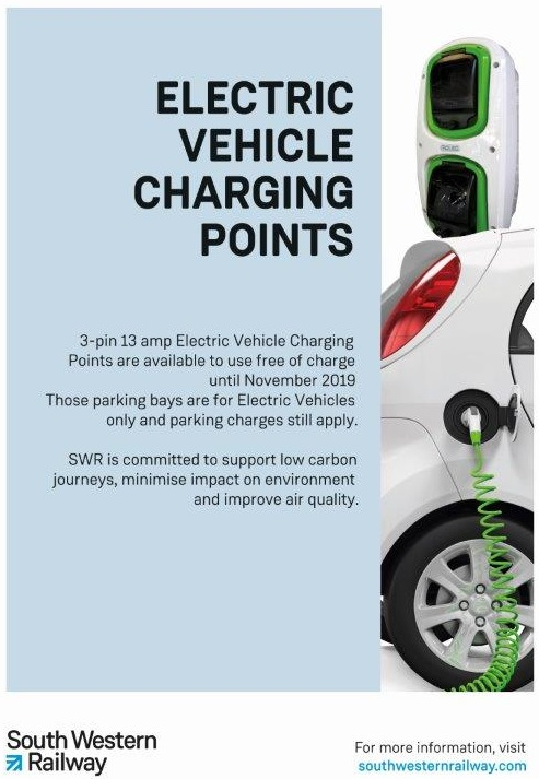 Sign with details for electric vehicle charging points