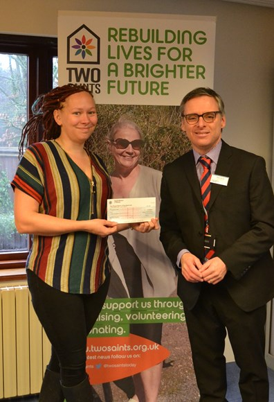 South Western Railway donates £1,000 to Two Saints homeless charity, based across Hampshire and the South of England