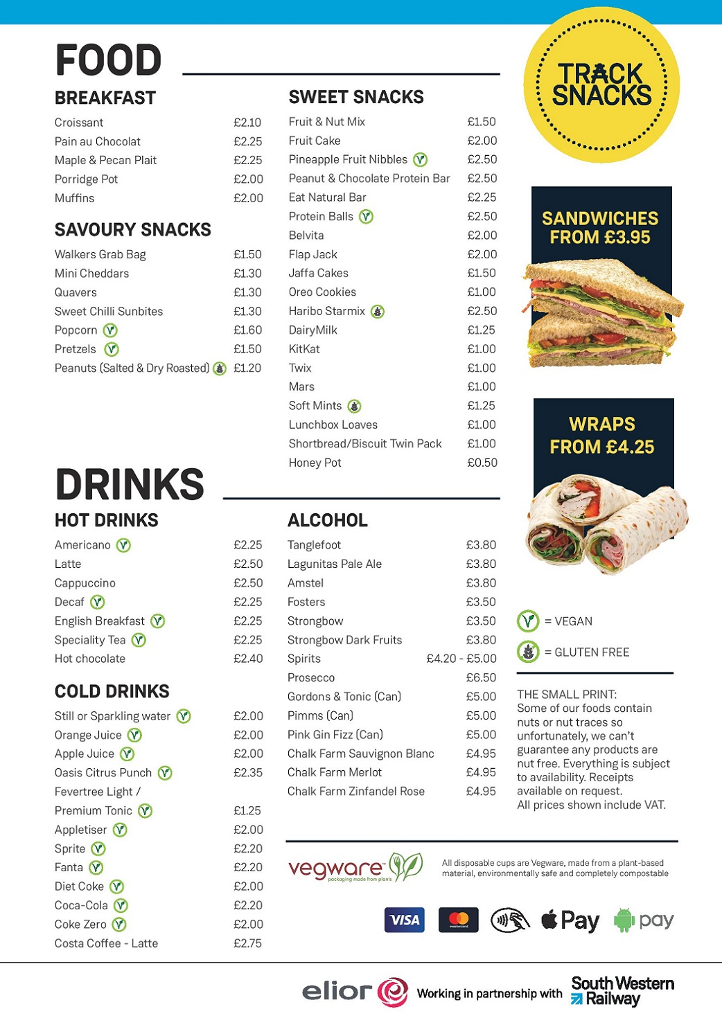 Elior Catering Menu for SWR