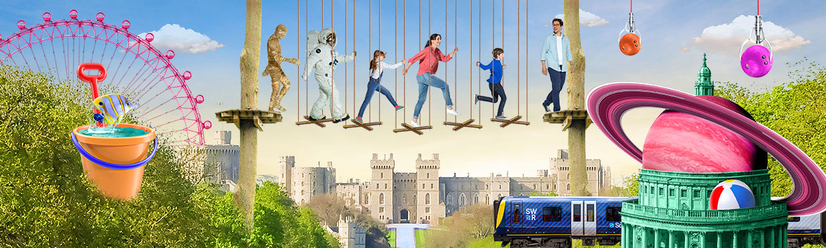 SWR brand campaign Go Ape, Windsor Castle and London Eye