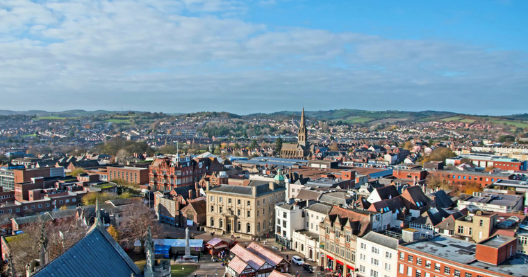 Exeter city centre viewed from the roof of the Cathedral