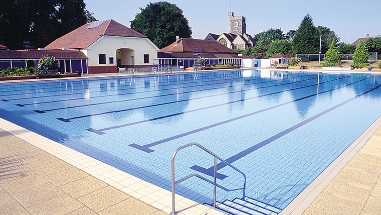 A view of the Guildford Lido, taken from poolside
