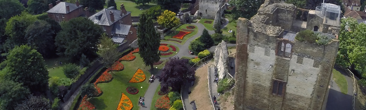 An aerial shot of Guildford Castle and grounds