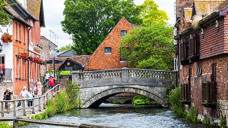 A view on Winchester City Mill taken from the river