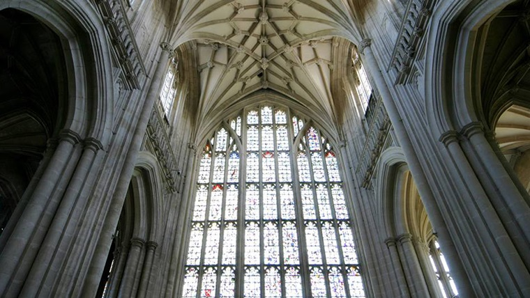 Body Image - the West Window at Winchester Cathedral, as viewed from inside the Cathedral.