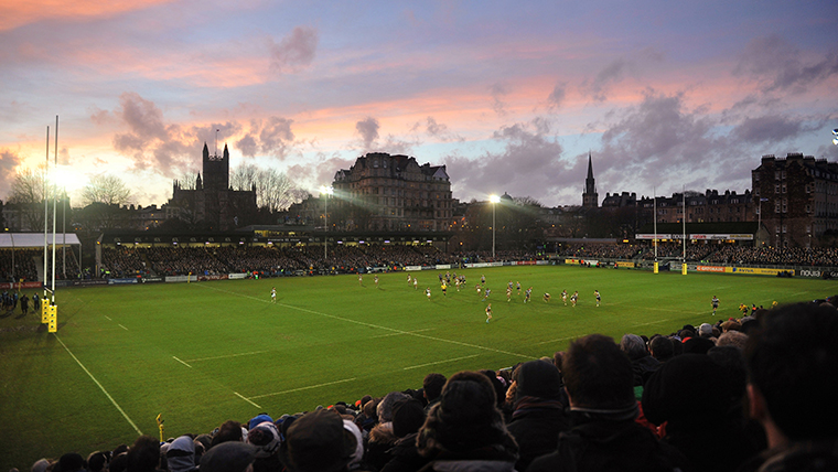A view over Bath Rugby Club at sunset