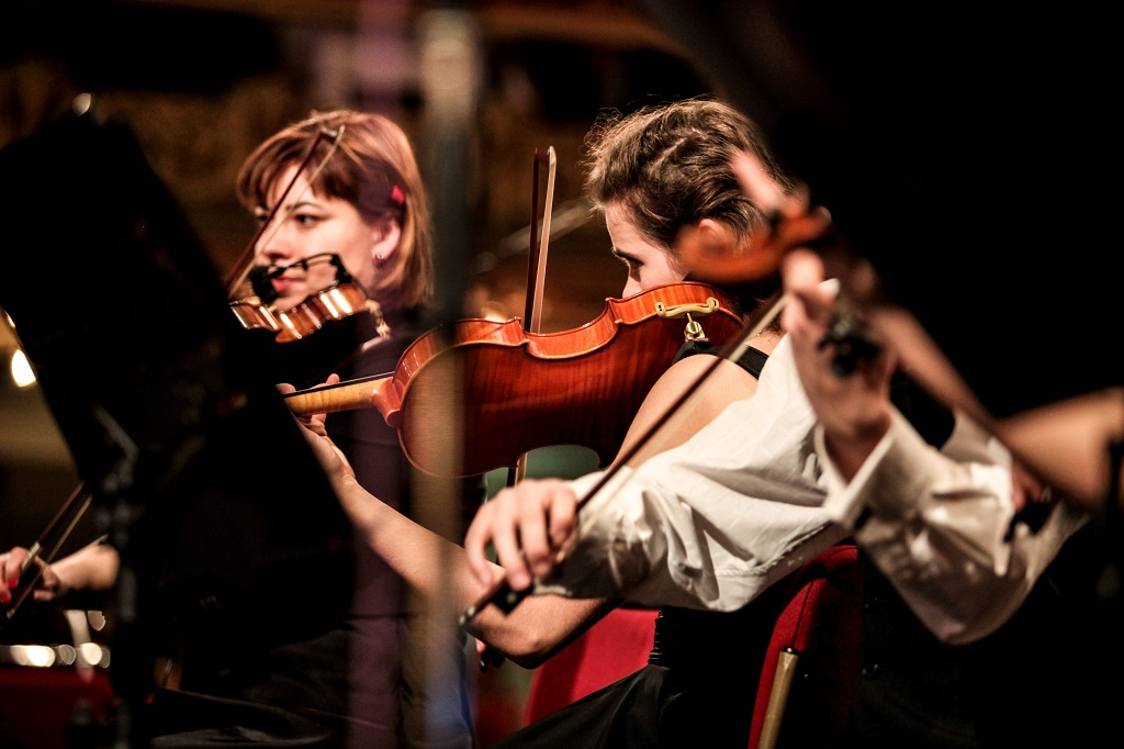 Two violinists playing. Image is taken in shallow focus