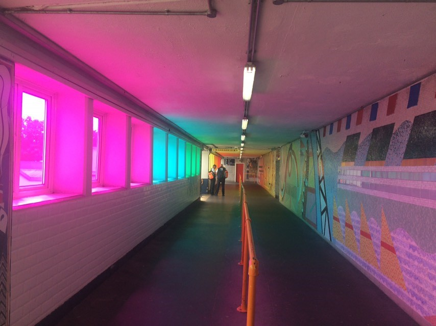 Southampton Central station rainbow effect installation on the overbridge