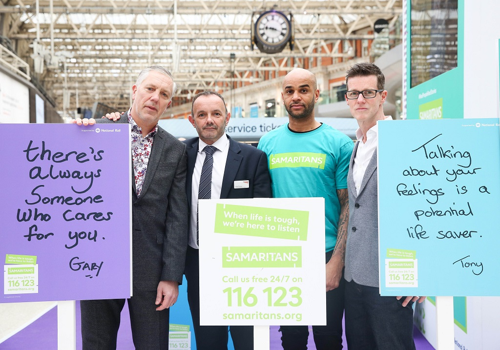 Left to Right: Ian Stevens (Network Rail, Programme Manager), Andy Thomas (Network Rail Wessex Route Managing Director), Leon Mackenzie (former professional footballer), Paul Macdonald (Head of External Affairs, Samaritans)