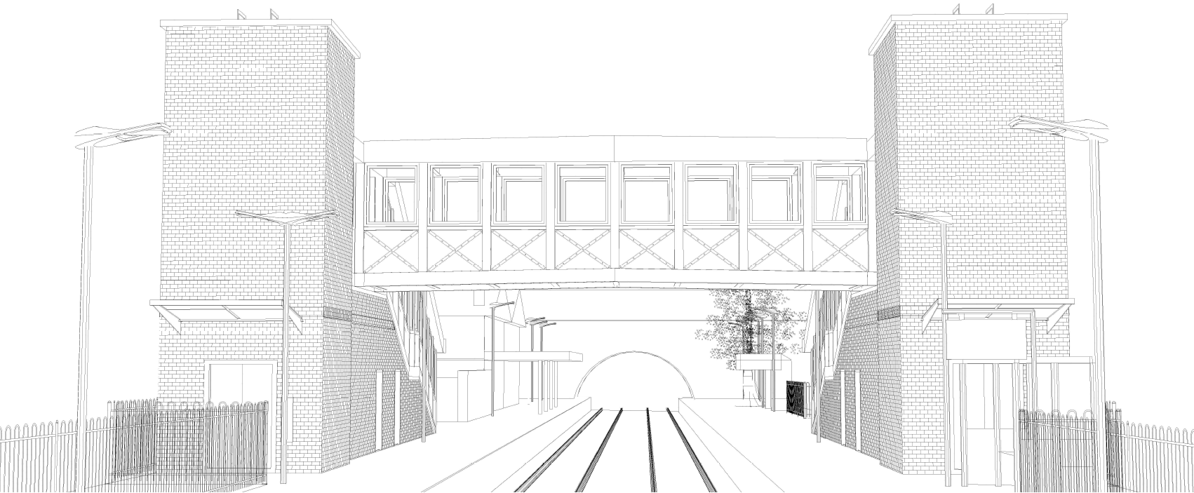 Architect's line drawing of Ewell West Bridge